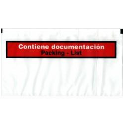 Sobre autoadhesivo portadocumentos de 240x140 mm. con texto impreso.