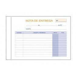 Talonario nota de entrega duplicado marino en formato 8º apaisado de 150x105 mm.