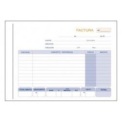 Talonario factura duplicado marino en formato 4º apaisado de 210x150 mm.