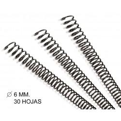 Espiral metálica gbc diámetro de 6 mm. en color negro, caja de 100 uds.