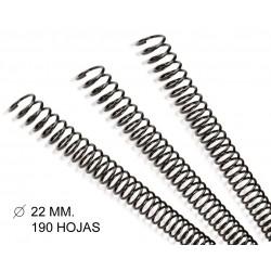 Espiral metálica gbc diámetro de 22 mm. en color negro, caja de 100 uds.