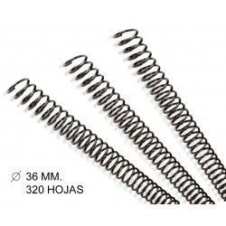 Espiral metálica gbc diámetro de 36 mm. en color negro, caja de 50 uds.