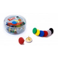 Chincheta plastificada apli de 10 mm. de diámetro en colores surtidos, caja de 50 uds.