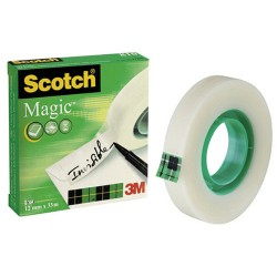 Cinta adhesiva invisible 3M scotch magic 810 de 12 mm. x 33 mts.